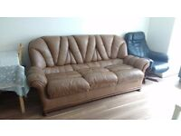 Leather Sofa Three pieces - 1 number of 3 Seater, 2 number of big arm chairs