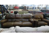 PRE OWNED Incanto 3 Seater Sofa + Chair + Footstool in Tan Leather