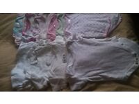 Girl-babygrows and baby short sleeve vests bundle, 0-3 months +extras