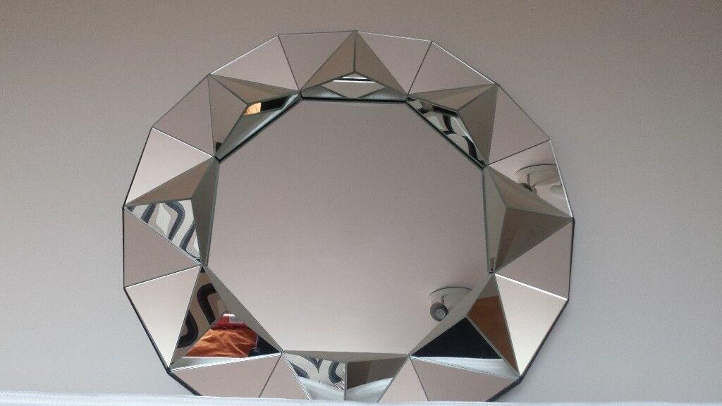 Modern Round Silver Wall Mirror In Springburn Glasgow