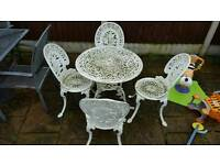 cast aluminium garden table and 4 chairs ••• shabby chic •••