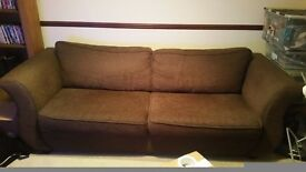 4 seater brown fabric sofa