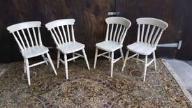X4 solid pine slat back chairs painted in farrow and ball old white