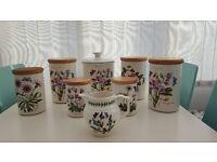 Portmeirion Botanic Garden storage jars biscuit container and cream/milk jug.