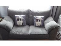 2 X 2 seater sofas £165 each. Shaded grey sofas. Just 12 months old. No children,pets or smoke.