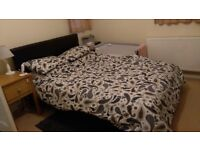 Leather double bed feame