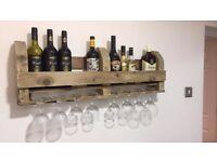 Wine rack rustic 8 glass or 6 glass shelf