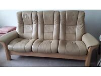 Stressless 3 seater leather sofa in light beige