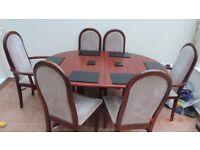 Mahogany veneered table and 6 chairs