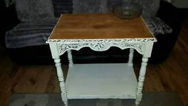 Vintage shabby chic solid oak console table