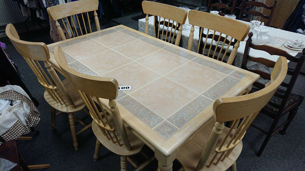 Large Light Wood Table With Tiles And 6 Chairs Spanish Dining