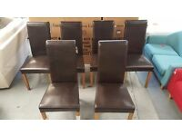 New 6 Julian Bowen Cuba Brown Faux Leather Dining Chairs **CAN DELIVER**