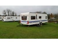 Large Hobby Prestige 5 berth caravan. VGC with extras. 2008 model, bought unused 2011 from dealer