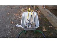 wheel barrow and garden tools