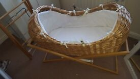 Moses basket comes with 2 stands £25