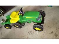 Children's outdoor tractor trailer