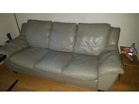 **URGENT** Living room leather furniture - 3 seater sofa (sofa bed), armchair & tuffet