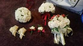 Brides flowers bridesmaid and flowergirl and 4 buttonholes