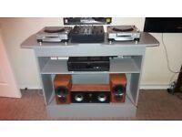 pioneer cdj 800 mk2s pair pioneer djm 600 mixer mission bookshelf speakers and DJ stand