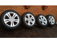 "BMW ALLOY WHEELS 17"" 3 4 SERIES F30 F31 F33 F36 PIRELLI TYRES 225 50 17 6796239"
