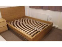 IKEA MALM double bed / Oak veneer / With HOVAG firm mattress.