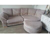 Dfs beige corner sofa, armchair and footstool