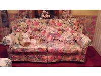Sofa 3 & 2 Seater - Sanderson Peony Rose.