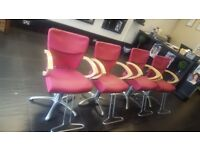 4 LUXURY PINK LEATHER HAIRDRESSING CHAIRS