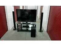 "42"" LG TV + Home Theatre System + Black Glass Stand"
