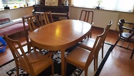 G-Plan Retro Vintage Teak Dining Room table complete with 6 Chairs