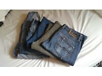 Used jeans and a dungarees PEPE, 2x LEE, WRANGLER, GAP (Made in USA), sizes 32x32.