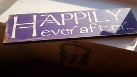 Wall hanging * Happily ever after* in purple