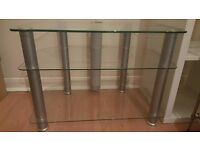 THREE TIER GLASS TV STAND GREAT CONDITION 35 ONO