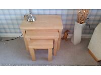 Solid wood (light beech) nest of tables