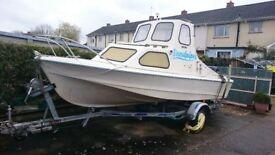 17' Fishing boat, Suzuki 50HP 4 stroke, Galvanized Braked trailer, Full Nav equipment