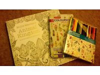 Colour therapy book and pencils