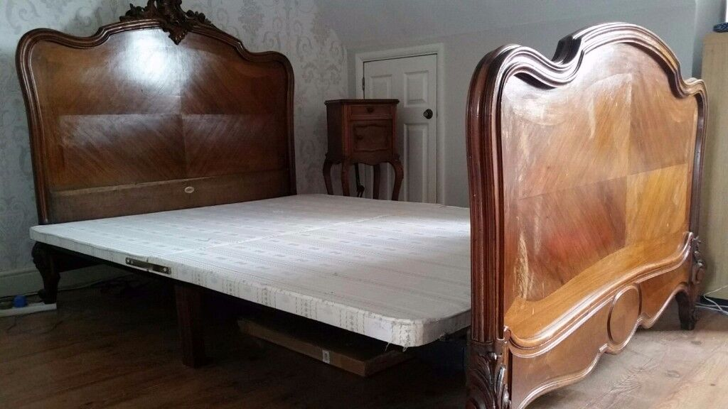Antique Double Bed and Side Cabinet