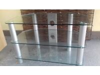 brushed silver/tinted glass quality TV stand. Fab condition