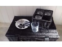 Large black picnic hamper with set if 4 glasses, knifes, forks, spoons and plates