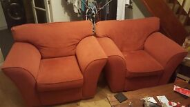 2x Large Red ArmChairs, no damage, just want rid of as we have bought a sofa.