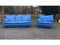 3&1 seater leather blue sofa