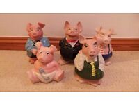 Vtg Retro Full Set Of Natwest Wade Pigs Moneyboxes - Piggy Banks
