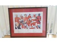 Limited Edition England vs Argentina World cup 2002 Framed and mounted print Hand signed by artist