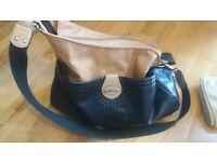 Storksak Leather Black and Tan changing bag