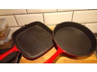 Cooks Professional Cast Iron Frying Pan (25cm) and Griddle (L37 x W24.5 x H3.6cm)