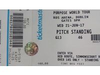 1 Ticket for Justin Bieber in Dublin for sale