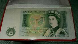 Old One Pound Note.