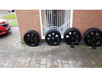 Crossfire black alloy winter tyres and wheels