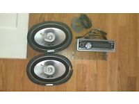 JVC CD and MP3 CAR PLAYER with ALPINE SPEAKERS and WIRING