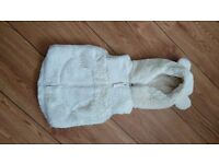 Gorgeous NEXT Faux Fur Gilet, with Hood. 12-18 Months